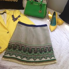 Like New Gorgeous Zara Pleated Skirt This skirt is pleated all over & has an amazing pattern with greens, cream, taupe, grey, & black. The bright blue waist band make the entire skirt a show stopper! This skirt is like new condition except for two small spots at the bottom front of the skirt. It is not noticeable with the very busy pattern. See photos! Other than that the skirt is in perfect condition! Zara Skirts