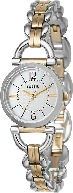 Fossil Women's ES2494 Linked Two-Tone Stainless Steel Bracelet White Analog Dial Watch