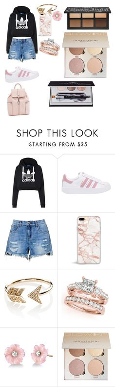 """""""Mall day"""" by gomezzjatz ❤ liked on Polyvore featuring adidas Originals, EF Collection, Irene Neuwirth and Anastasia Beverly Hills"""
