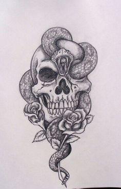 Skull And Snake Tattoo Designs Amazing Skull And Snake Tattoos photo, Skull And Snake Tattoo Designs Amazing Skull And Snake Tattoos image, Skull And Snake Tattoo Designs Amazing Skull And Snake Tattoos gallery Tatto Skull, Skull Tattoo Design, Skull Art, Tattoo Arm, Skull Design, Skull Thigh Tattoos, Thigh Piece Tattoos, Skull Rose Tattoos, Tattoo Moon