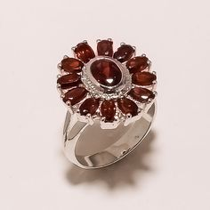 925 SOLID STERLING SILVER FACETED MOZAMBIQUE GARNET LIGHT WEIGHT RING SZ 8 #925silverrocks