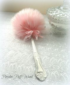 PINK Powder Puff Wand - soft lolli puff with handle - faux fur - by Bonny Bubbles - gift boxed