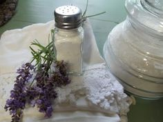 LAVENDER FRESHENER POWDER:  6 cups of baking soda  3 cups of dried lavender  1 cup of cornstarch  lavender essential oil (if desired)  As much as you like. Use a whisk to add several drops of essential oil.  Keep it covered for several days before you use it. Sprinkle generously on a rug or mat and leave for a few hours and then vacuum. (from Faye Henry)