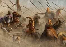Alexander the Great chases down the Persian King Darius III at the battle of Gaugamela. The illustration is based on the famous mosaic from Pompeii. Alexander The Great, Greek History, Ancient History, Ancient Rome, Ancient Greece, Battle Of Gaugamela, Battle Of Issus, Alexandre Le Grand, Greek Warrior