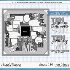 Cindy's Layered Templates - Single 120: Ten Things by Cindy Schneider