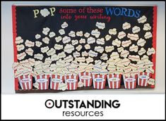 Popcorn board Great Classroom Ideas English Display Vocabulary is Important Class Boards - New Deko Sites Classroom Displays Secondary, English Classroom Displays, Primary School Displays, Classroom Display Boards, Display Boards For School, Teaching Displays, Class Displays, Literacy Display, Reading Display