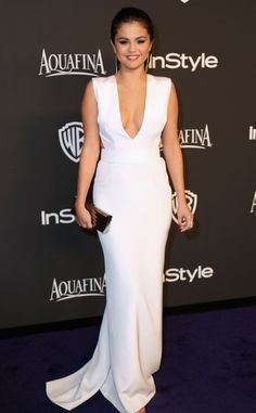 Selena Gomez & Cara Delevingne Are Beautiful BFFs at Golden Globes Parties!: Photo Selena Gomez and Cara Delevingne walk the carpet together look stunning as ever while stepping out for the InStyle and Warner Bros. Party held after the 2015 Golden… Selena Gomez Fashion, Selena Gomez Style, Selena Gomez White Dress, Selena Gomez Red Carpet, Evening Dress 2015, Evening Dresses, Graduation Dresses, Homecoming Dresses, Party Looks
