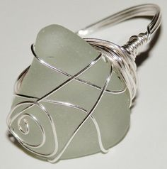 Sea Glass Ringa white frosted piece on a sterling by ASExpressions, $18.00