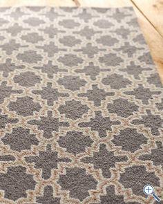 garnet hill tin tile hooked wool rug. charcoal.