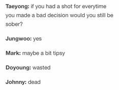 Nct memes cause why not¿ Taeyong, Jaehyun, Winwin, Nct Life, Funny Kpop Memes, Soyeon, Wattpad, Day6, Kpop Groups