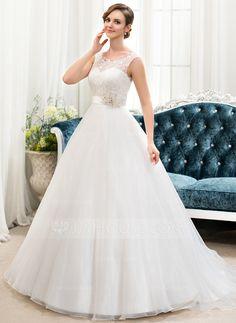 Balklänning Rund-urringning Sweep släp Organzapåse Spetsar Bröllopsklänning med Pärlbrodering Paljetter (002054362)