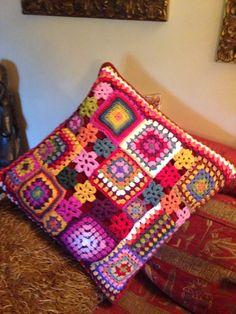 Patchwork crochet using up random bits made x