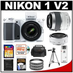 Nikon 1 V2 Digital Camera Body with 10-30mm VR Lens (White) with 30-110mm & 10mm Lenses + 32GB Card + Case + Tripod + 3 Filters + Accessory Kit by Nikon. $1149.95. Kit includes:♦ 1) Nikon 1 V2 Digital Camera Body with 10-30mm VR Lens (White)♦ 2) Nikon 1 30-110mm f/3.8-5.6 VR Nikkor Lens (White)♦ 3) Nikon 1 10mm f/2.8 Nikkor Lens (White)♦ 4) Transcend 32GB SecureDigital Class 10 (SDHC) Ultra-High-Speed Card♦ 5) Sunpak 40.5mm Ultraviolet Glass Filter♦ 6) Additional...
