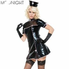 MOONIGHT Black Faux Leather Adult Halloween Role Playing Sexy Nurse Costumes For Women