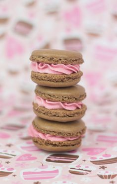 Gorgeous Chocolate Macarons with Strawberry Filling