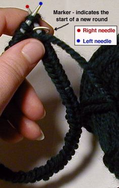 Knitting in the round tutorial Knitting Paterns, Circular Knitting Needles, Knitting Yarn, Hand Knitting, Crochet Patterns, Knitting Help, Knitting Videos, Knitting Tutorials, Knitting Projects
