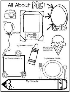 All About Me Worksheet for Back to School Freebie! Simple back to school all about me poster for the littles! All About Me Preschool Theme, All About Me Crafts, All About Me Printable, All About Me Worksheet, Kindergarten Posters, Kindergarten Activities, Beginning Of The School Year, Back To School, All About Me Poster