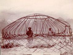 Felt tent structure rising