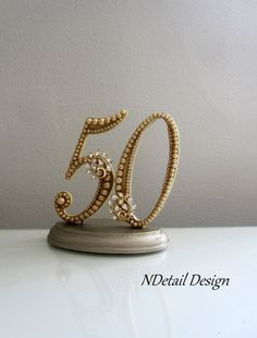 Golden 50th Anniversary Cake Topper In Gold Silk And Pearls With Vintage Rhinestone Brooch On Etsy