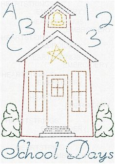 School Days ABC 123 Hand Stitchery Embroidery Pattern