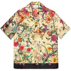 551422ca5 Gucci Flora Snake Print Silk Bowling Shirt ($960) ❤ liked on Polyvore  featuring men's