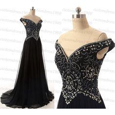 Black long prom dress,handmade beading chiffon cap sleeve black formal... ($179) ❤ liked on Polyvore featuring dresses, chiffon formal dress, prom dresses, beaded dress, chiffon prom dresses and long formal dresses