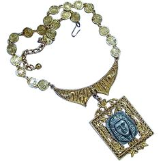 Half price Signed ART Egyptian Pharaoh Pendant Necklace during Ruby Lane Red Tag Sale - ends 8/3 at 8AM PST.