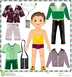 Paper Doll With A Set Of Fashionable Clothing.