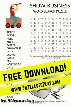 The show business word search is your golden ticket to Hollywood. Alright, maybe it's more of a glimpse in a printable puzzle form, but there is nothing more exciting than to see a celebrity!