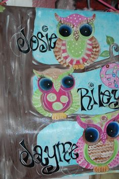 Hand Painted Personalized Owl Canvas