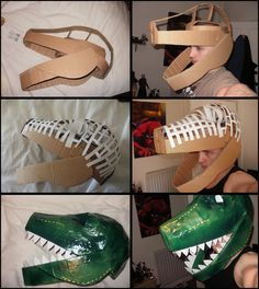 A compilation of photos to show the stages of making my Dinosaur mask / helmet from the cardboard shell, mesh and final paper mache and painting. I made this last minute for a fancy dress party wit...