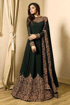 Gorgeous Dark Green Georgette Anarkali Suit With Resham Work - LSTV0362