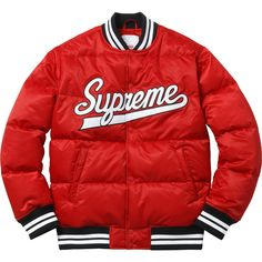 Supreme Script Varsity Puffy Jacket ❤ liked on Polyvore featuring outerwear, jackets, tops, red puffer jacket, red puffy jacket, red jacket, puffy jacket and puffer jacket