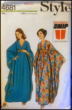 The perfect vintage 1970s caftan pattern. I think the company is British. Anyway, they called this a