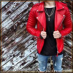 New-Men-039-s-Genuine-Lambskin-Leather-Jacket-Red-Slim-fit-Biker-Motorcycle-jacket