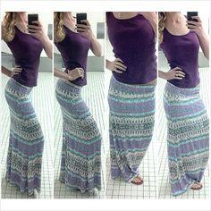 #Tribal print maxi skirt #Aztec print maxi skirt-- maxi skirt from Charlotte Russe; Aeropostale tank top