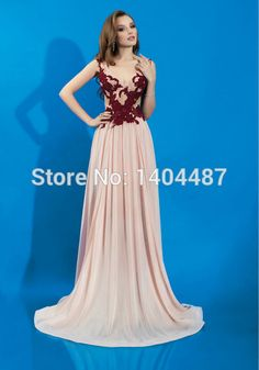 2016 Long Backless Chiffon Prom Dresses With Lace Appliques Elegant A Line V Neck Sleeveless Sweep Train Wedding Party Dresses