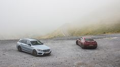 Mercedes C450 AMG and Nissan GT-R in the Pyrenees
