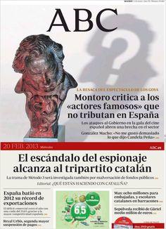 Los Titulares y Portadas de Noticias Destacadas Españolas del 20 de Febrero de 2013 del Diario ABC ¿Que le parecio esta Portada de este Diario Español?