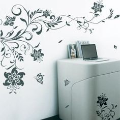 Large Vine Flowers Butterfly Tree Art Wall Stickers / Wall decals / Wall Mural-White