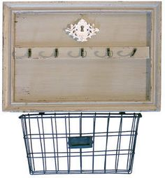 Wayfair Lawrence Wood Wall 5 Hook Rack with Metal Basket