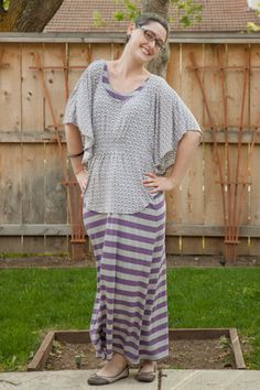 Striped purple and gray maxi dress, Target batwing sleeve top, American Rag flats, wooden earrings.