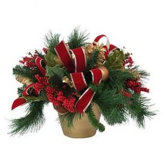 "Faux potted pine bough and berry arrangement with pinecone and ribbon accents.  Product: Faux floral arrangementConstruction Material: Silk, plastic, nylon, and clayColor: Red, green, and goldDimensions: 14"" H x 24"" Diameter"