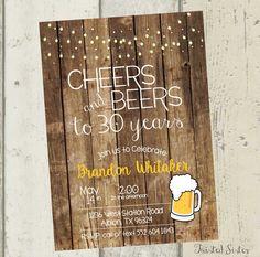 Adult Birthday Invitation, Thirtieth birthday invite, Cheers and Beers, BBQ Invite, 30th birthday, 30th birthday invitation, Rustic Invite by TwistedSisterShop on Etsy