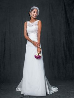 David's Bridal Collection Taffeta A Line Wedding Gown with Illusion Lace Neckline Style WG3529