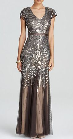 Adrianna Papell Gown - Cap Sleeve Beaded