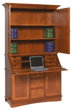 Amish Grand Secretary Desk Grand, versatile and beautiful, this is an instant workspace that fits in wherever you need it to. One minute a handsome cabinet, the next a fully operating office space! #secretarydesk #desks