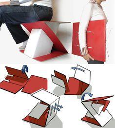 Silla transportable de cartón, Z-tabure, de Erdem Selek. Ver galeria al final del post.