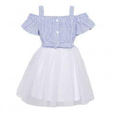 789d3adee725cc Bonnie Jean Big Girls Blue White Striped Off-Shoulder Overlaid Dress 7-16  Off
