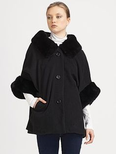 Adrienne Landau - Rabbit Fur Cape - Saks.com